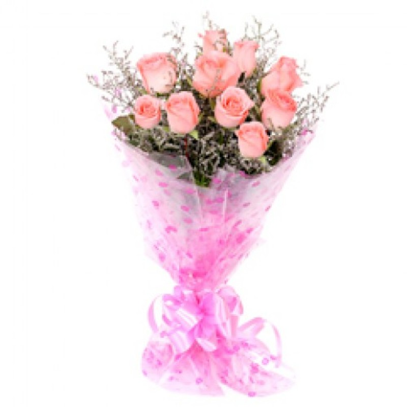 10 Pink Roses Bunch