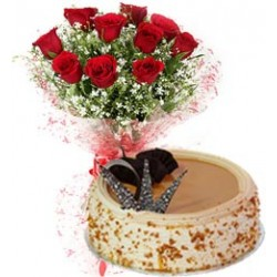 Butter Scotch Cake with 6 Red Roses