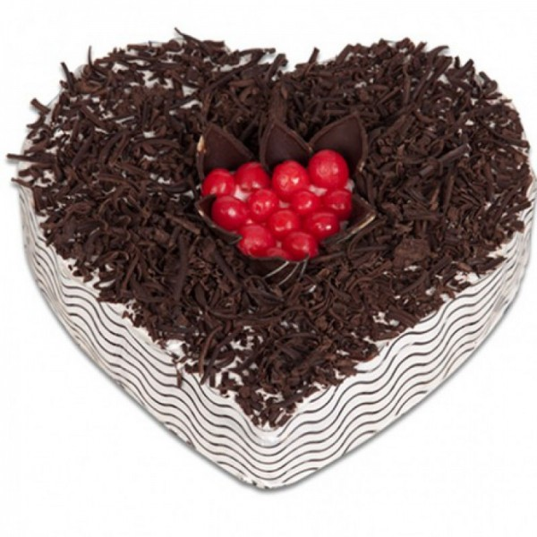 Black Forest Heart Shaped 1 Kg Cake