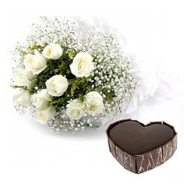 1 kg Chocolate Cake With White Roses