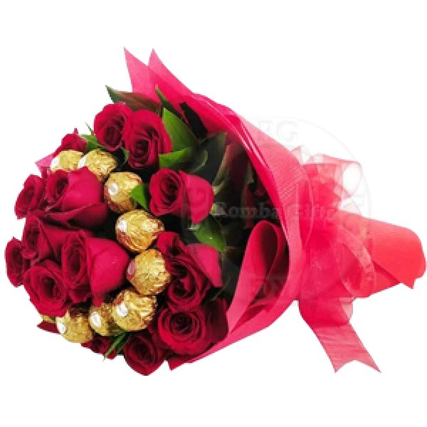 Rocher Chocolate with Roses Bouquet