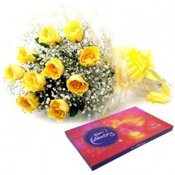 Yellow Roses With Celebration