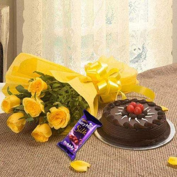 Chocolate Cake With 6 Yellow Roses And Chocolate