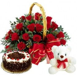 Flowers With Cake and Teddy