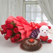 Flowers With Cake Teddy and Chocolates (2)