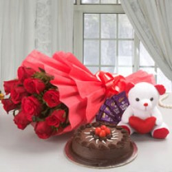 Flowers With Cake Teddy and Chocolates